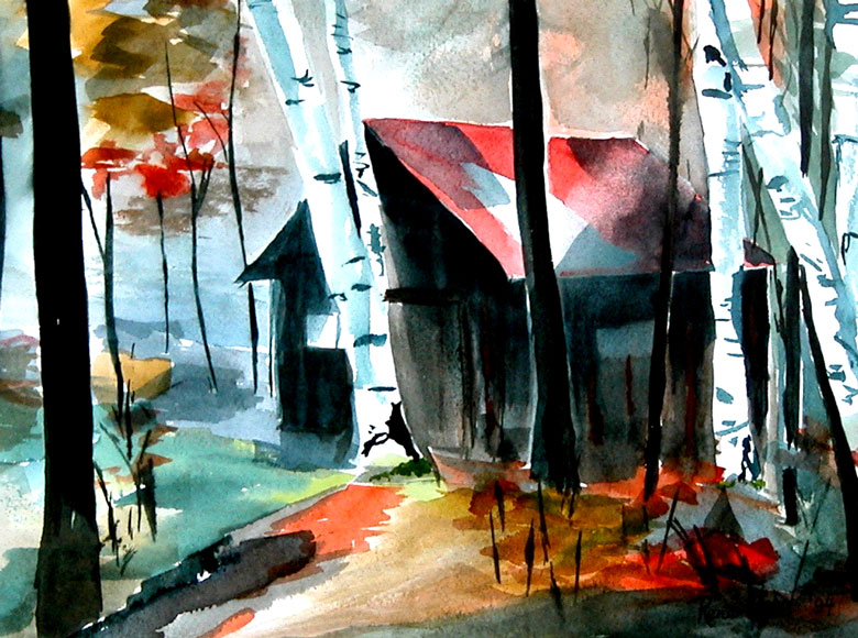 Cabin - watercolours by Rena Upitis