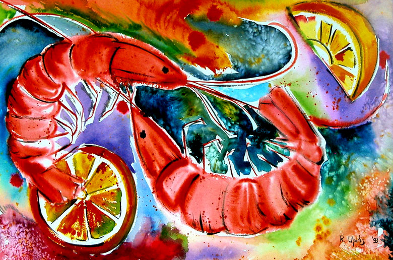 Shrimp -  watercolours  by Rena Upitis